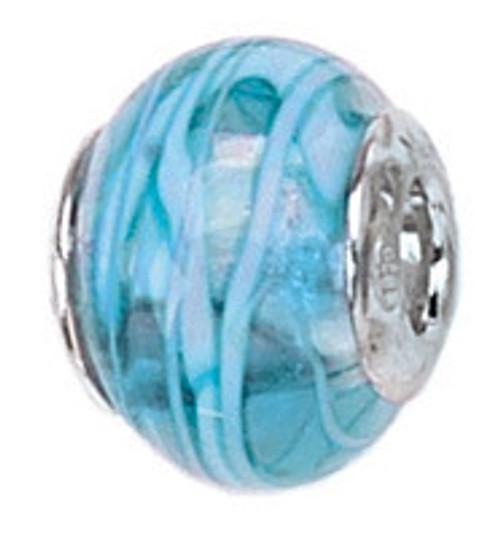 ZABLE Blue Stripes Murano Glass Bead Charm BZ-1523