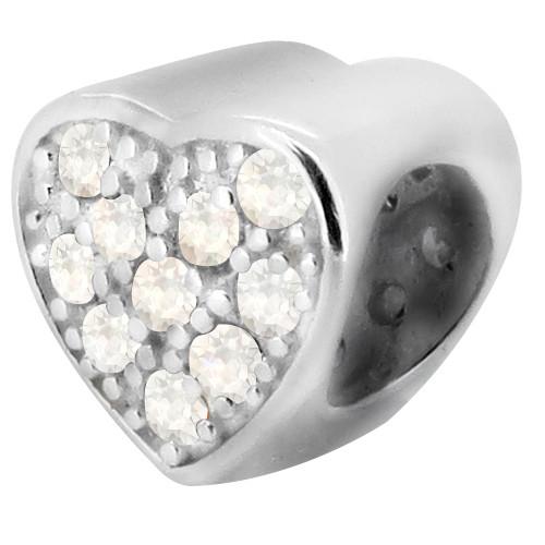 ZABLE CZ Heart Bead Charm BZ-1006 fits Pandora