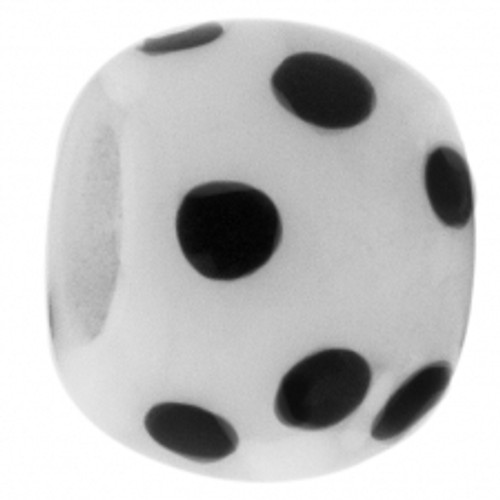 BIAGI KIDZ White Polka Dot Glass Bead Bead Charm BGPD05