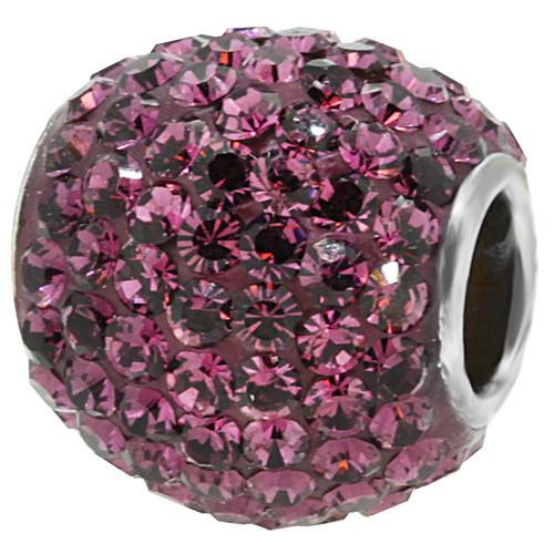 ZABLE Deep Purple February Crystal Studded Bead Charm BZ-1282