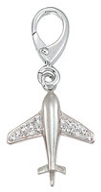 ZABLE Airplane with CZ's Clip-On Charm LC-252