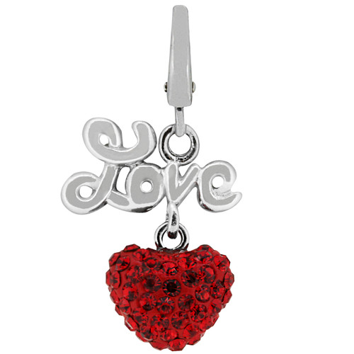 ZABLE Love Heart with Red Crystals Clip-On Charm LC-269