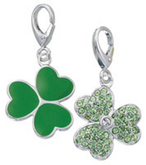 ZABLE Green Shamrock with Crystals Charm LC-363