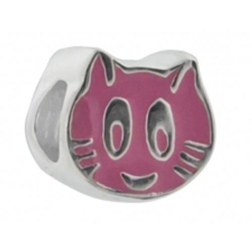 BIAGI KIDZ Sterling Pink Cat Bead Charm BE130