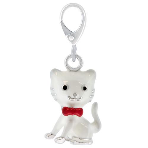 ZABLE Black and White Enamel Kitty Cat Charm LC-361, fits Pandora.