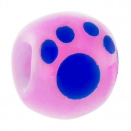 BIAGI KIDZ Pink Paw Print Glass Bead Bead Charm BGPP01