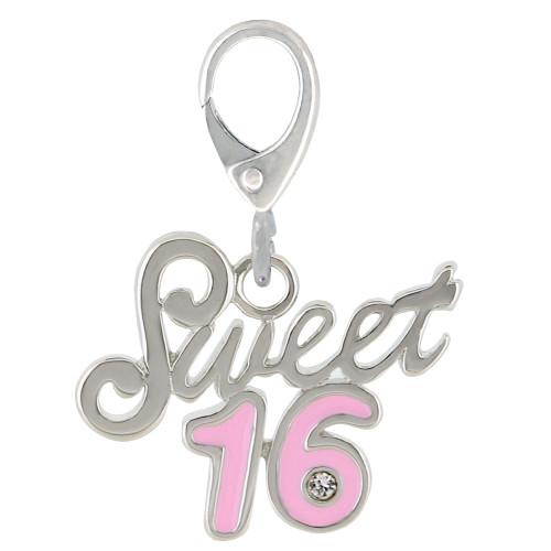ZABLE Pink Enamel Sweet 16 Charm LC-335