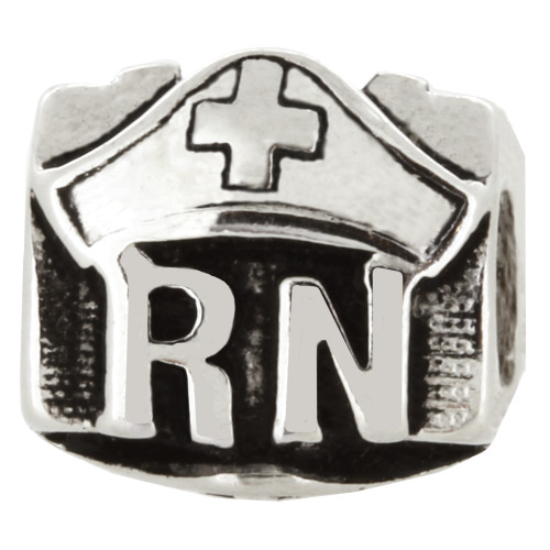 ZABLE Nurse RN Hat Bead Charm BZ-1428, fits Pandora.