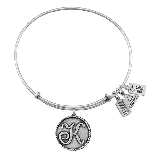 "Wind and Fire Love Letter ""K"" Initial Charm with Bangle WF-160"