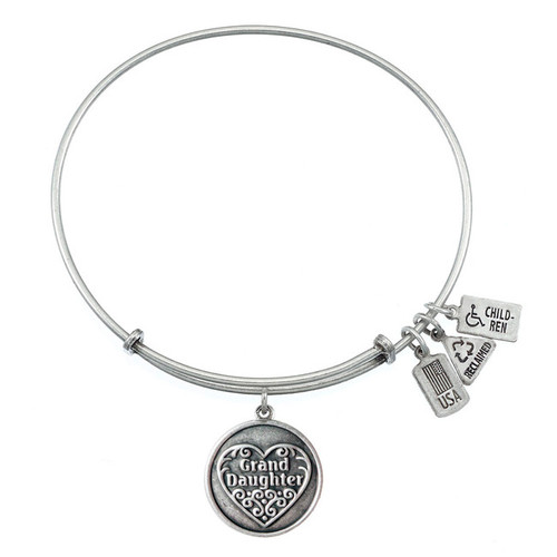 Wind and Fire Granddaughter with Heart Charm with Bangle WF-292