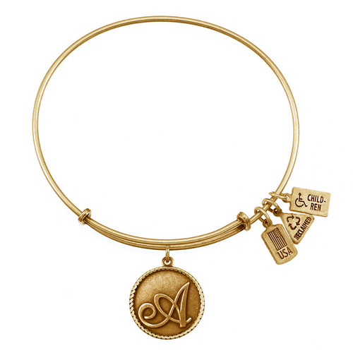 "Wind and Fire Love Letter ""A"" Initial Charm with Bangle WF-150"