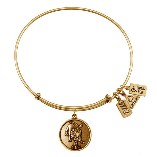Wind and Fire Leo Lion Zodiac Symbol Charm with Bangle WF-117 (retired)