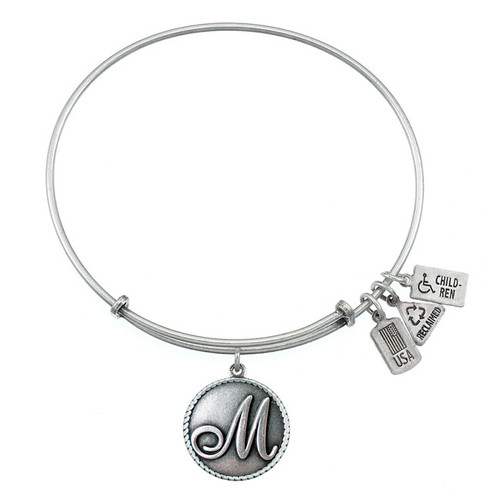 "Wind and Fire Love Letter ""M"" Initial Charm with Bangle WF-162"