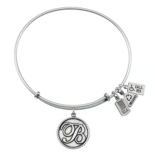 "Wind and Fire Love Letter ""B"" Initial Charm with Bangle WF-151"