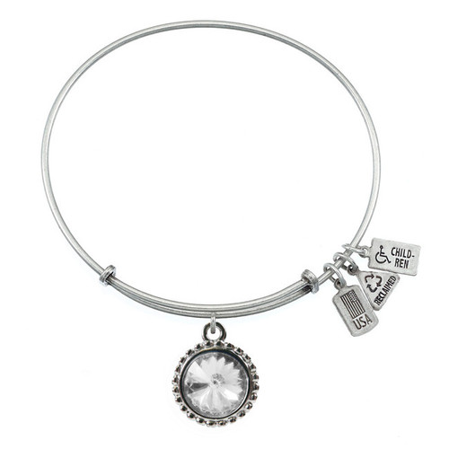 Wind and Fire April Birthstone Charm with Bangle WF-104