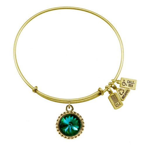 Wind and Fire May Birthstone Charm with Bangle WF-105