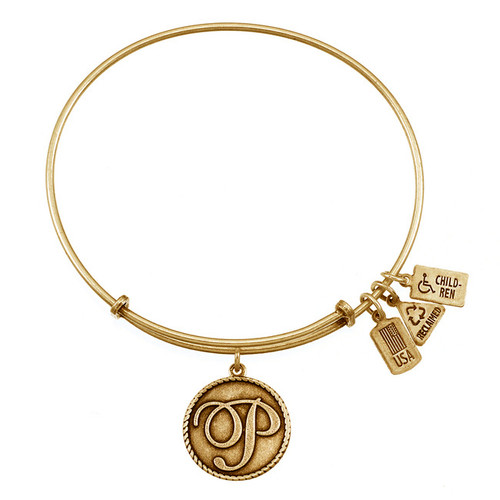 """Wind and Fire Love Letter """"P"""" Initial Charm with Bangle WF-165"""