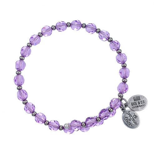 Wind and Fire Crystal Wrap Violet Purple Crystal 6mm w/Spacers Bangle WF-804