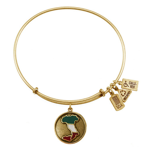 Wind and Fire Map of Italy Charm with Bangle WF-350