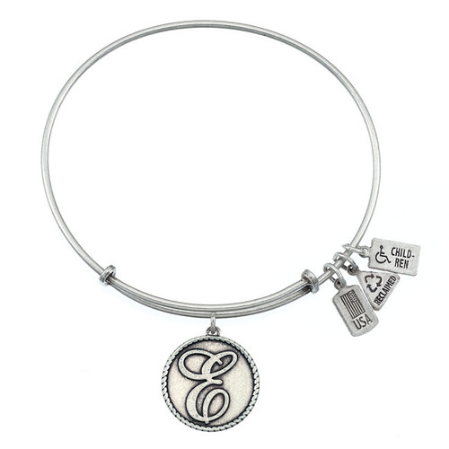 """Wind and Fire Love Letter """"E"""" Initial Charm with Bangle WF-154"""
