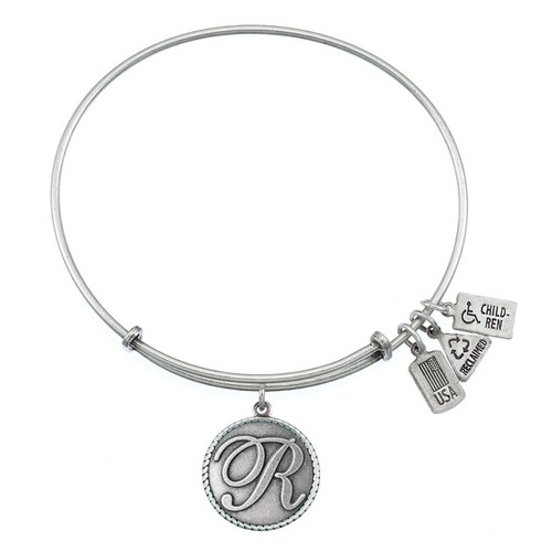 "Wind and Fire Love Letter ""R"" Initial Charm with Bangle WF-167"