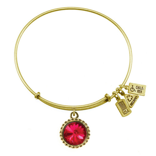 Wind and Fire July Birthstone Charm with Bangle WF-107