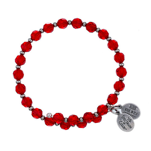 Wind and Fire Crystal Wrap Light Siam Red Crystal 6mm w/Spacers Bangle WF-805
