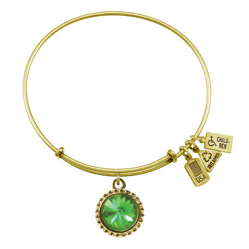 Wind and Fire August Birthstone Charm with Bangle WF-108