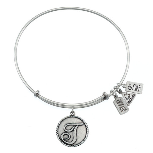 """Wind and Fire Love Letter """"T"""" Initial Charm with Bangle WF-169"""