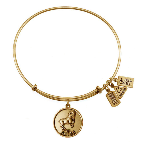 Wind and Fire Aries Ram Zodiac Symbol Charm with Bangle WF-113 (Retired)