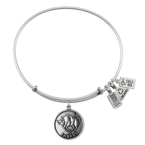 Wind and Fire Taurus Bull Zodiac Symbol Charm with Bangle WF-114 (Retired)