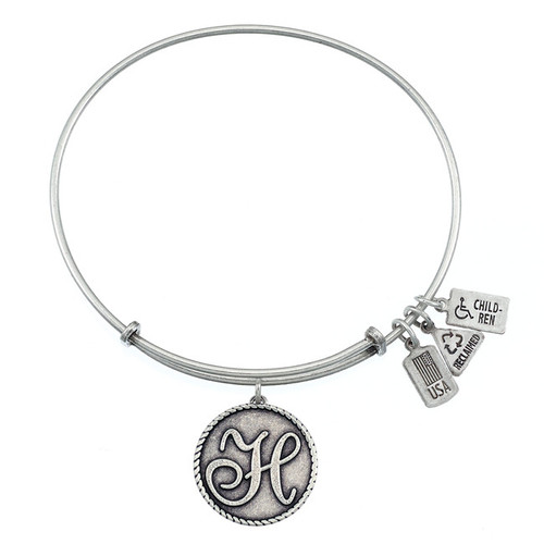 """Wind and Fire Love Letter """"H"""" Initial Charm with Bangle WF-157"""