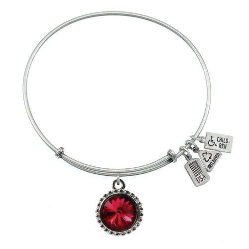 Wind and Fire January Birthstone Charm with Bangle WF-101