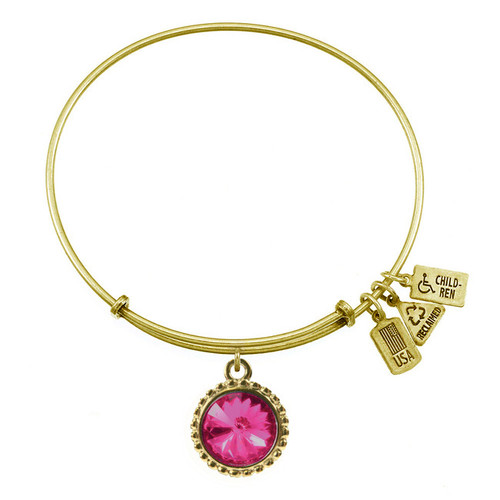 Wind and Fire October Birthstone Charm with Bangle WF-110
