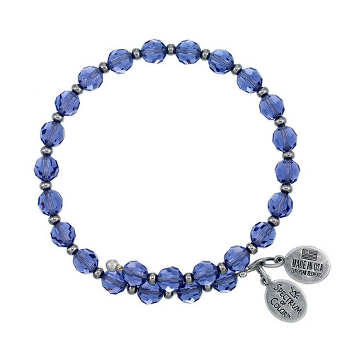Wind and Fire Crystal Wrap Blue Tanzanite Crystal 6mm w/Spacers Bangle WF-809