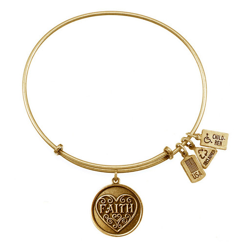 Wind and Fire Faith Heart Charm with Bangle WF-279