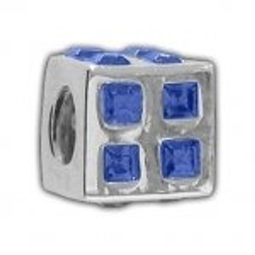 BIAGI Square Blue CZ Bead Charm BSCZ04B