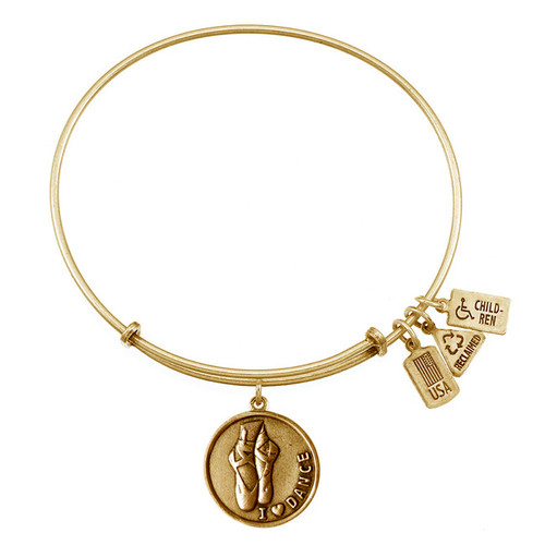 Wind and Fire I Love Dance Ballet Slippers Charm with Bangle WF-309