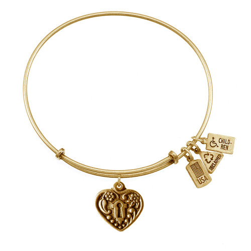 Wind and Fire 3D Heart Lock Charm with Bangle WF-504