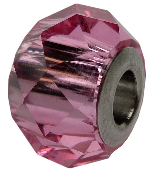 ZABLE  Faceted Pink Crystal Bead Charm BZ-1352