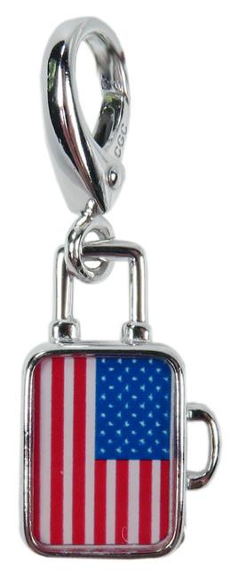 ZABLE Suitcase w/USA Flag Charm LC-386