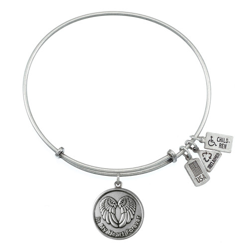 "Wind and Fire Winged Heart ""In My Heart Forever"" Charm with Bangle WF-367"