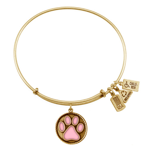 Wind and Fire Pink Enamel Paw Print Charm with Bangle WF-457