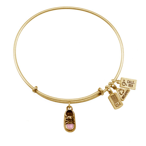Wind and Fire 3D Pink Baby Shoe Charm with Bangle WF-532