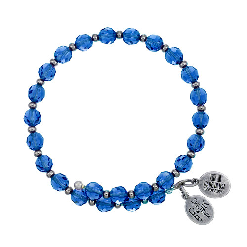 Wind and Fire Crystal Wrap Capri Blue Crystal 6mm w/Spacers Bangle WF-814