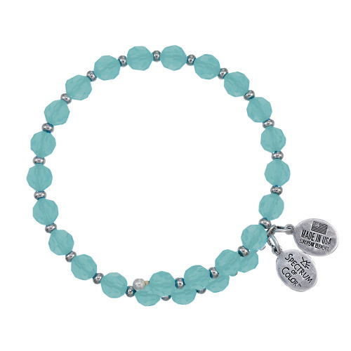 Wind and Fire Crystal Wrap Turquoise Crystal 6mm w/Spacers Bangle WF-815