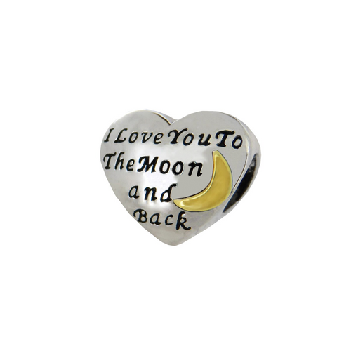 "ZABLE 2-Tone ""I Love You to the Moon and Back"" Bead Charm BZ-2290 fits pandora, compatible with pandora."