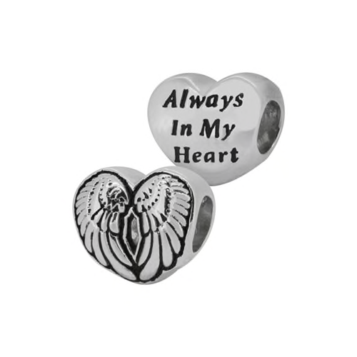 "ZABLE 2-Sided Winged Heart ""Always In My Heart"" Bead Charm BZ-2284, fits pandora, like pandora, compatible with pandora, sterling silver."