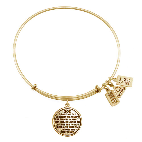 "Wind and Fire ""Serenity Prayer"" Charm with Bangle WF-353"