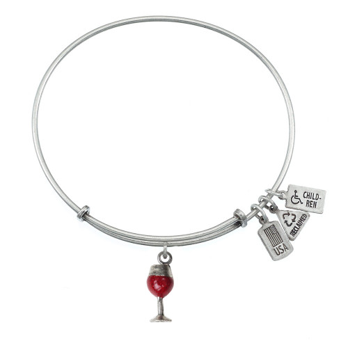 Wind and Fire 3D Red Enamel Wine Glass Charm with Bangle WF-508R